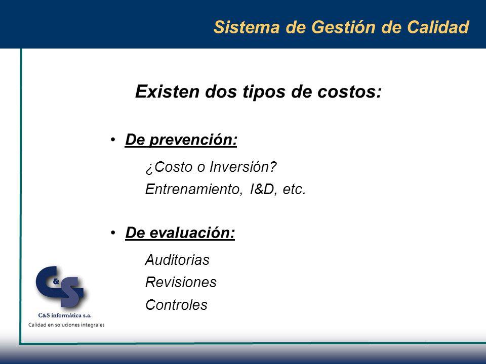 Sistema de Gestión de Calidad Costos de la mala calidad Características: No controlables Pueden ser o no Financieros Mensurables o no mensurables