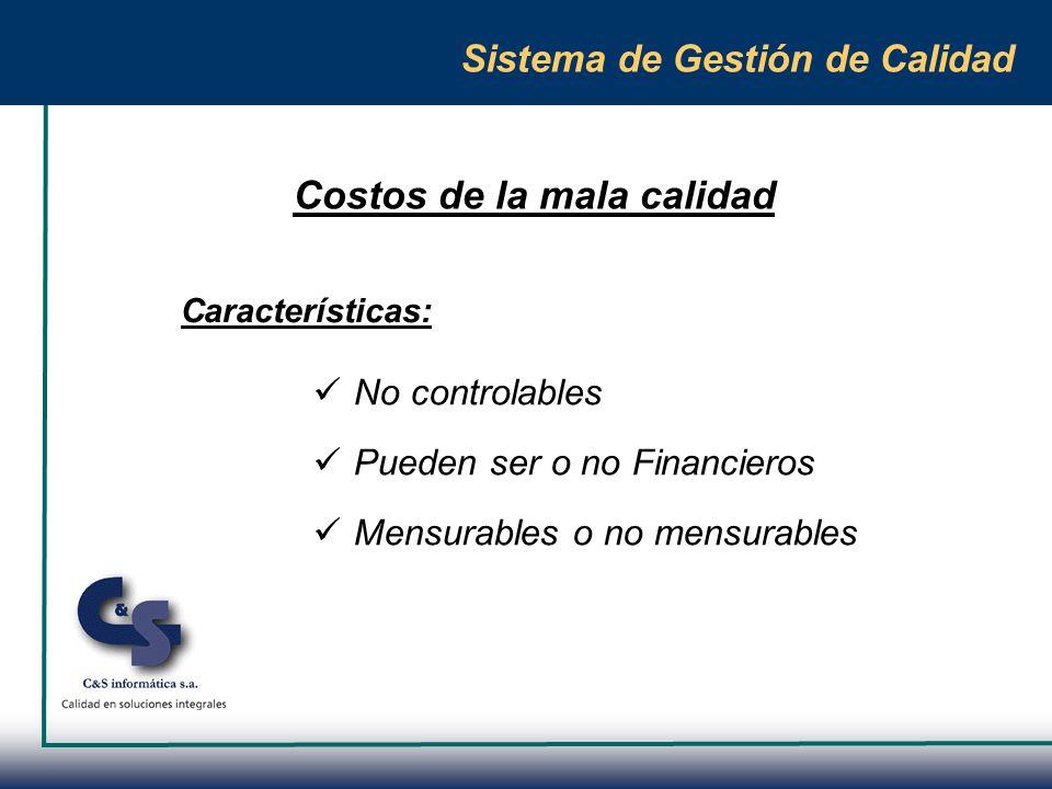 Sistema de Gestión de Calidad Existen cuatro tipos de costos: Costos efectivos No calidad por deficiencias internas No calidad trasmitida al cliente Ingresos no percibidos No calidad detectada internamente No calidad detectada externamente