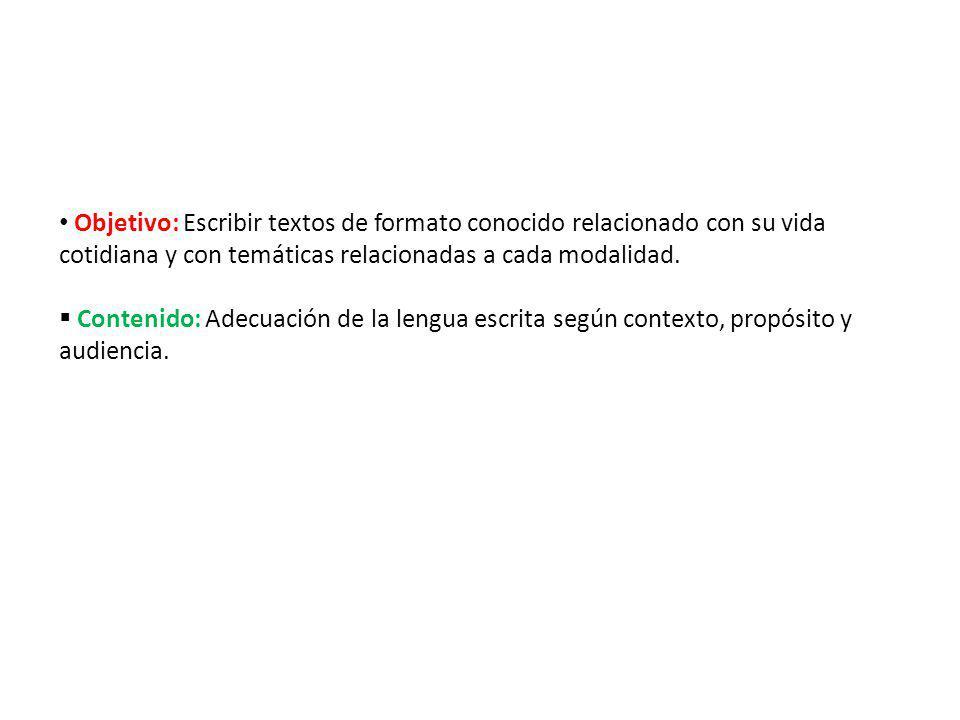Objetivo: Escribir textos de formato conocido relacionado con su vida cotidiana y con temáticas relacionadas a cada modalidad. Contenido: Adecuación d