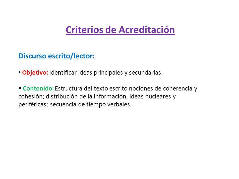 Criterios de Acreditación Discurso escrito/lector: Objetivo: Identificar ideas principales y secundarias. Contenido: Estructura del texto escrito noci