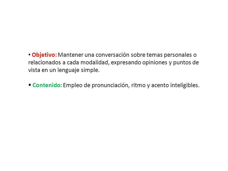 Objetivo: Mantener una conversación sobre temas personales o relacionados a cada modalidad, expresando opiniones y puntos de vista en un lenguaje simp