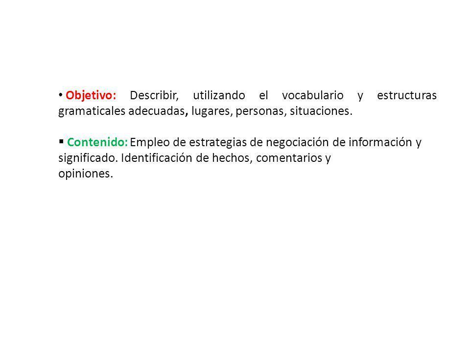 Objetivo: Describir, utilizando el vocabulario y estructuras gramaticales adecuadas, lugares, personas, situaciones. Contenido: Empleo de estrategias
