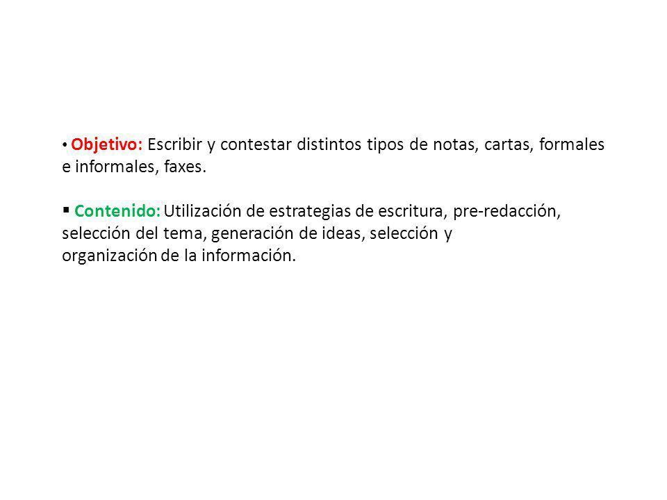 Objetivo: Escribir y contestar distintos tipos de notas, cartas, formales e informales, faxes. Contenido: Utilización de estrategias de escritura, pre