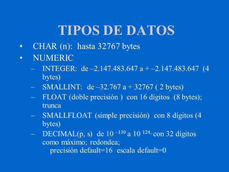 TIPOS DE DATOS CHAR (n): hasta 32767 bytes NUMERIC –INTEGER: de –2.147.483.647 a + –2.147.483.647 (4 bytes) –SMALLINT: de –32.767 a + 32767 ( 2 bytes) –FLOAT (doble precisión ) con 16 dígitos (8 bytes); trunca –SMALLFLOAT (simple precisión) con 8 dígitos (4 bytes) –DECIMAL(p, s) de 10 –130 a 10 124, con 32 dígitos como máximo; redondea; precisión default=16 escala default=0