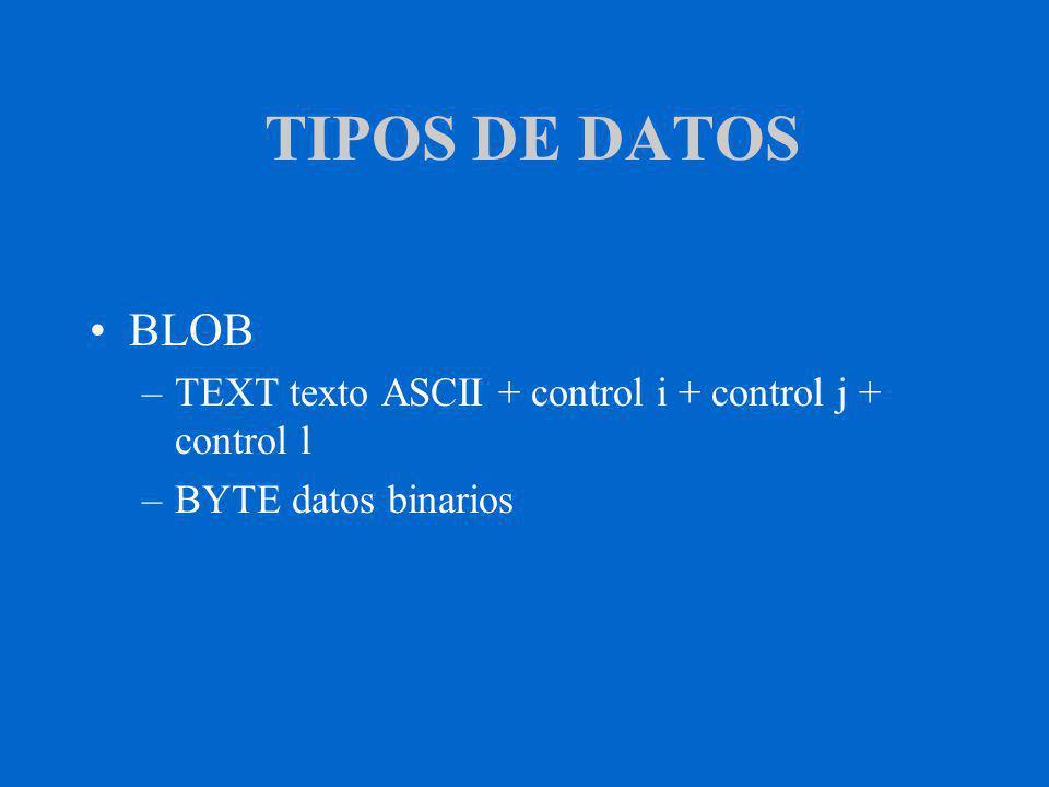 TIPOS DE DATOS BLOB –TEXT texto ASCII + control i + control j + control l –BYTE datos binarios