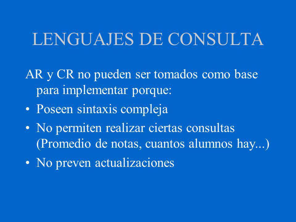 LENGUAJES DE CONSULTA AR y CR no pueden ser tomados como base para implementar porque: Poseen sintaxis compleja No permiten realizar ciertas consultas (Promedio de notas, cuantos alumnos hay...) No preven actualizaciones