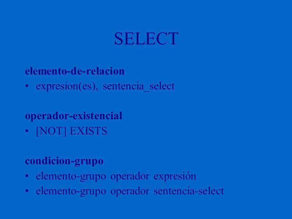 SELECT elemento-de-relacion expresion(es), sentencia_select operador-existencial [NOT] EXISTS condicion-grupo elemento-grupo operador expresión elemento-grupo operador sentencia-select