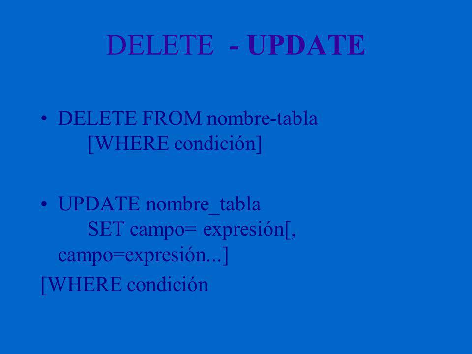 DELETE - UPDATE DELETE FROM nombre-tabla [WHERE condición] UPDATE nombre_tabla SET campo= expresión[, campo=expresión...] [WHERE condición