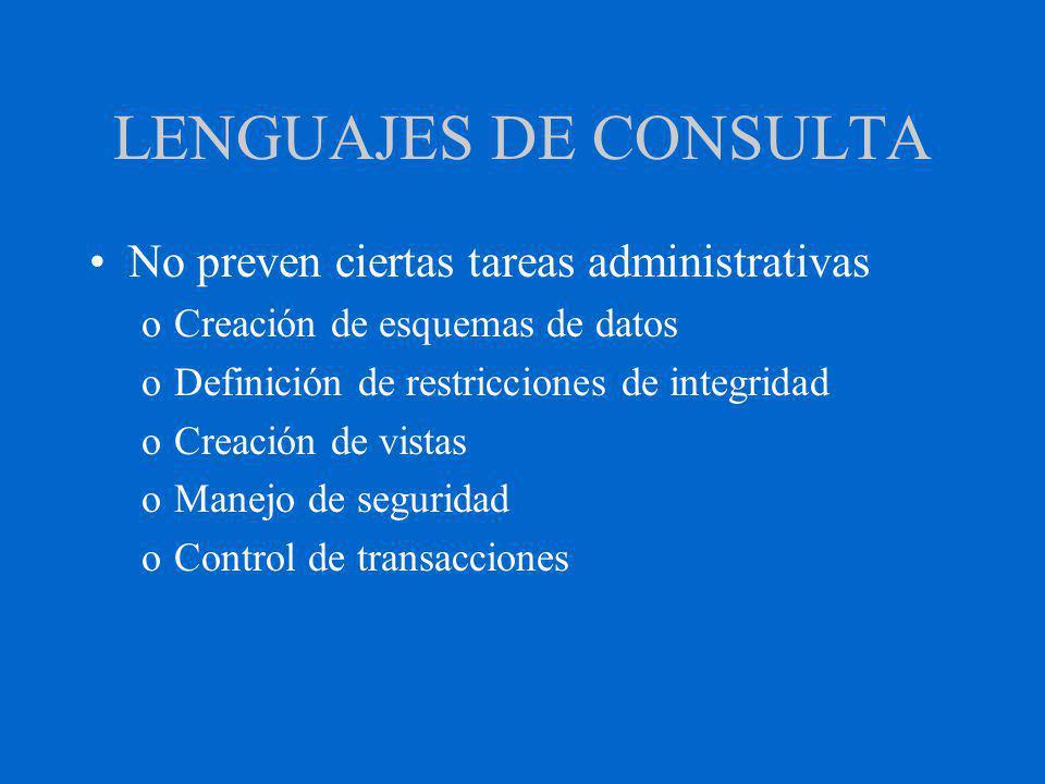 LENGUAJES DE CONSULTA No preven ciertas tareas administrativas oCreación de esquemas de datos oDefinición de restricciones de integridad oCreación de vistas oManejo de seguridad oControl de transacciones