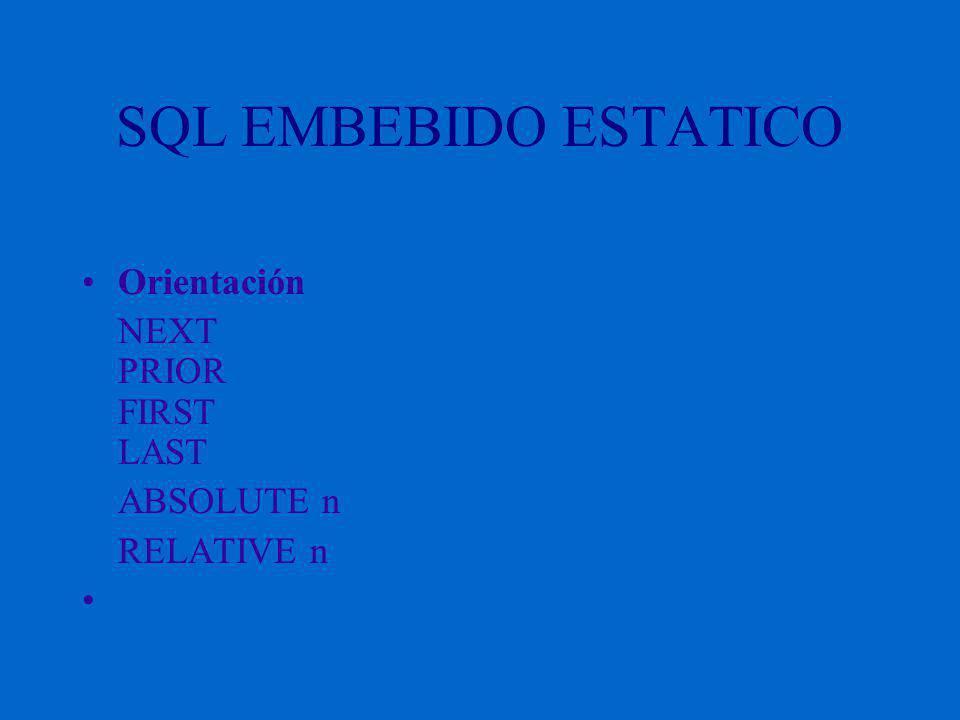 SQL EMBEBIDO ESTATICO Orientación NEXT PRIOR FIRST LAST ABSOLUTE n RELATIVE n