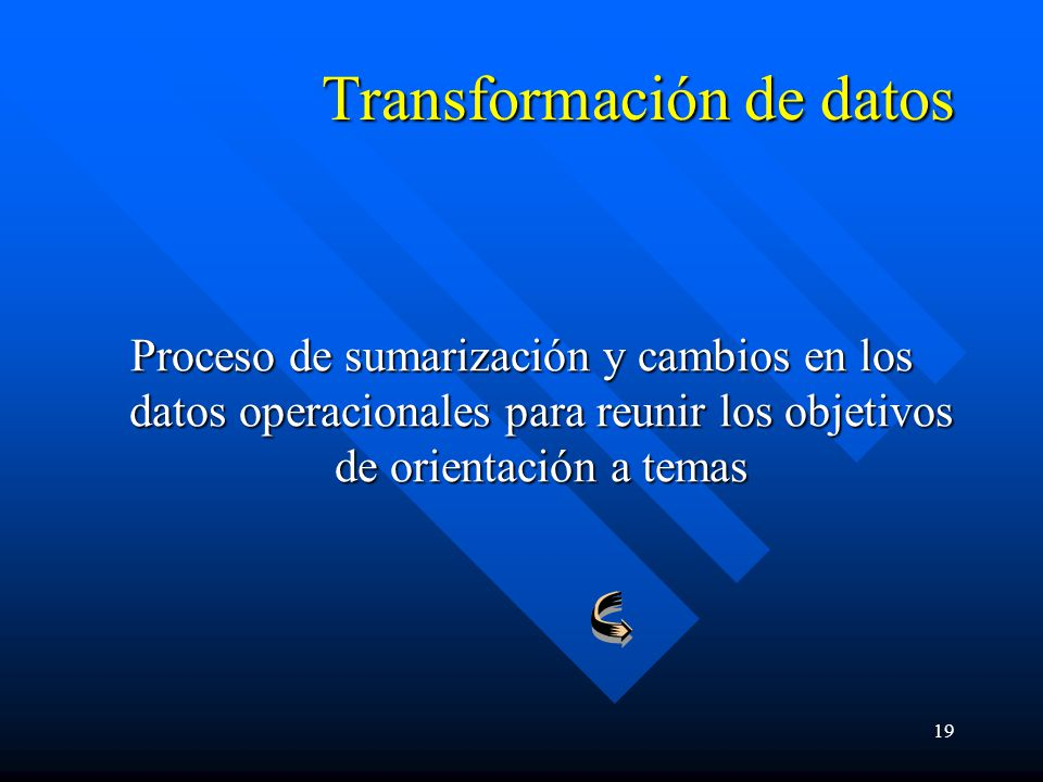 19 Transformación de datos Proceso de sumarización y cambios en los datos operacionales para reunir los objetivos de orientación a temas