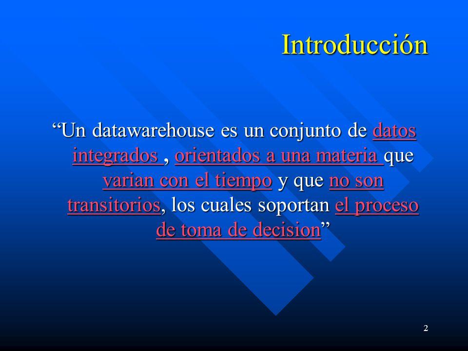 2 Introducción Un datawarehouse es un conjunto de datos integrados, orientados a una materia que varian con el tiempo y que no son transitorios, los c