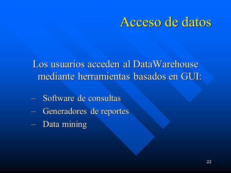 22 Acceso de datos Los usuarios acceden al DataWarehouse mediante herramientas basados en GUI: –Software de consultas –Generadores de reportes –Data mining