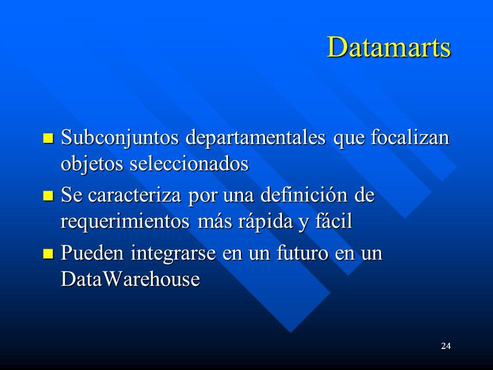 24 Datamarts Subconjuntos departamentales que focalizan objetos seleccionados Subconjuntos departamentales que focalizan objetos seleccionados Se caracteriza por una definición de requerimientos más rápida y fácil Se caracteriza por una definición de requerimientos más rápida y fácil Pueden integrarse en un futuro en un DataWarehouse Pueden integrarse en un futuro en un DataWarehouse