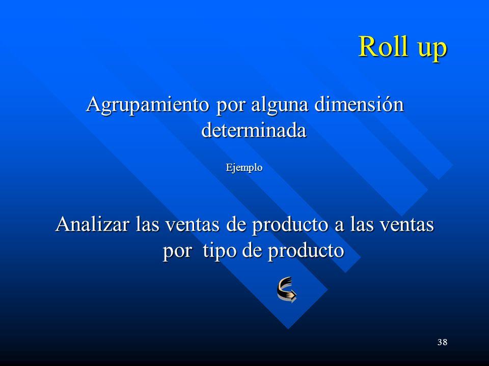38 Roll up Agrupamiento por alguna dimensión determinada Ejemplo Analizar las ventas de producto a las ventas por tipo de producto