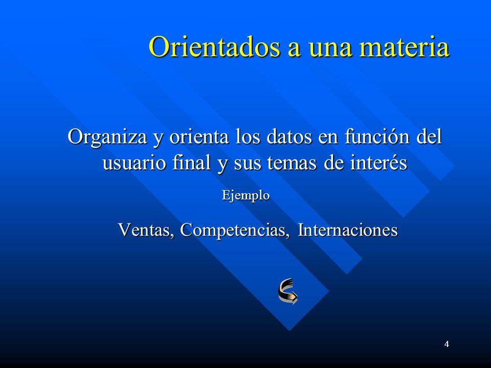 4 Orientados a una materia Organiza y orienta los datos en función del usuario final y sus temas de interés Ejemplo Ventas, Competencias, Internacione