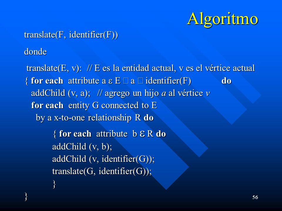 56 Algoritmo translate(F, identifier(F)) donde translate(E, v): // E es la entidad actual, v es el vértice actual translate(E, v): // E es la entidad actual, v es el vértice actual { for each attribute a E a identifier(F) do addChild (v, a); // agrego un hijo a al vértice v addChild (v, a); // agrego un hijo a al vértice v for each entity G connected to E for each entity G connected to E by a x-to-one relationship R do by a x-to-one relationship R do { for each attribute b R do { for each attribute b R do addChild (v, b); addChild (v, identifier(G)); translate(G, identifier(G)); } }}