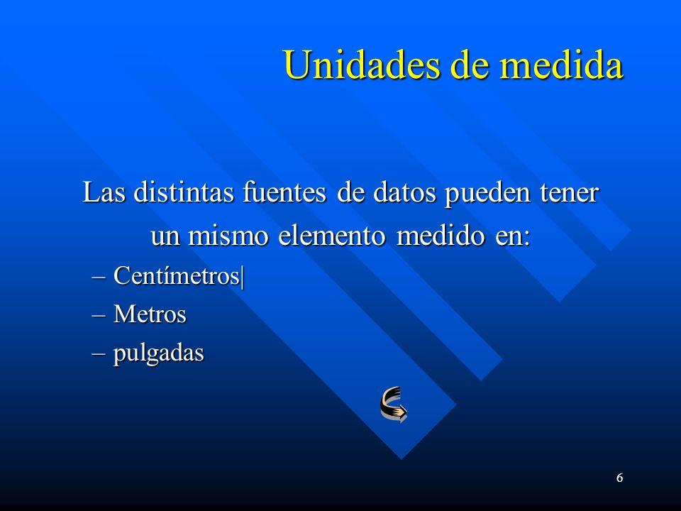 6 Unidades de medida Las distintas fuentes de datos pueden tener un mismo elemento medido en: –Centímetros| –Metros –pulgadas