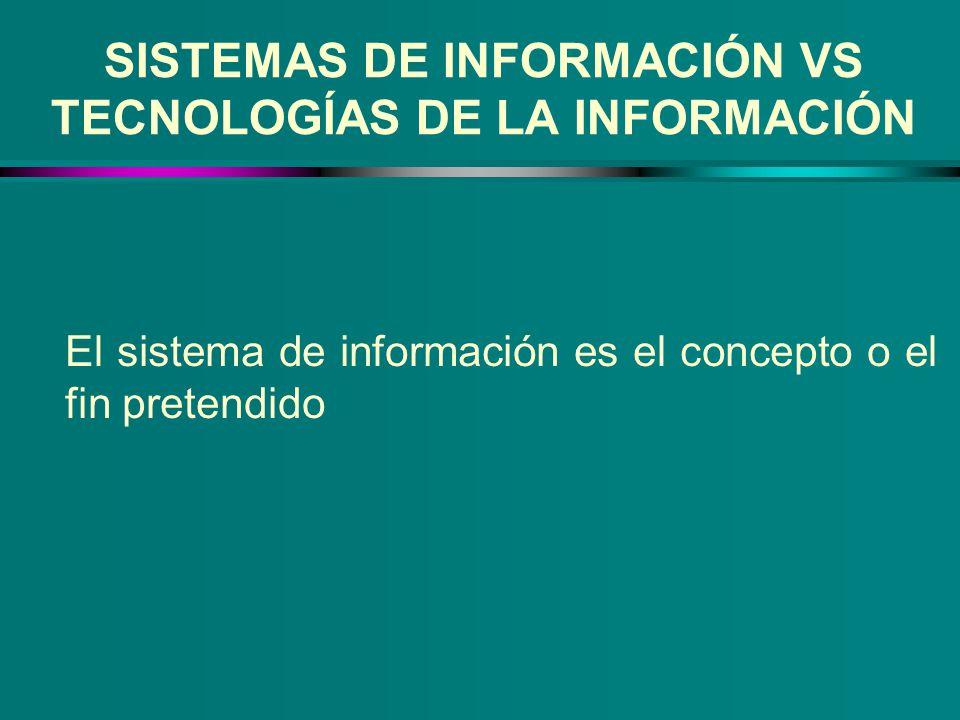 SISTEMAS DE INFORMACIÓN VS TECNOLOGÍAS DE LA INFORMACIÓN El sistema de información es el concepto o el fin pretendido