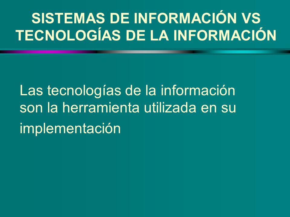 SISTEMAS DE INFORMACIÓN VS TECNOLOGÍAS DE LA INFORMACIÓN Las tecnologías de la información son la herramienta utilizada en su implementación