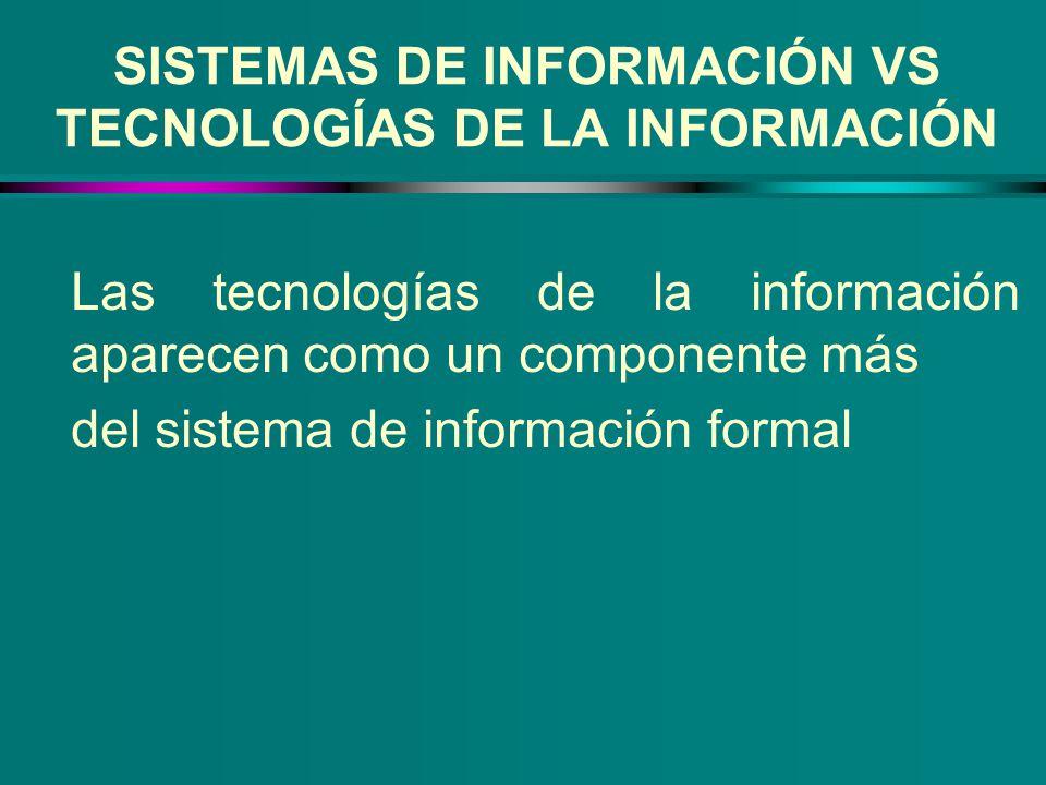 SISTEMAS DE INFORMACIÓN VS TECNOLOGÍAS DE LA INFORMACIÓN Las tecnologías de la información aparecen como un componente más del sistema de información