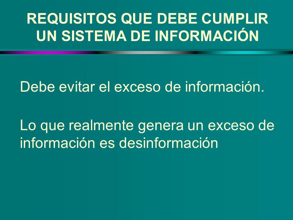 REQUISITOS QUE DEBE CUMPLIR UN SISTEMA DE INFORMACIÓN Debe evitar el exceso de información. Lo que realmente genera un exceso de información es desinf