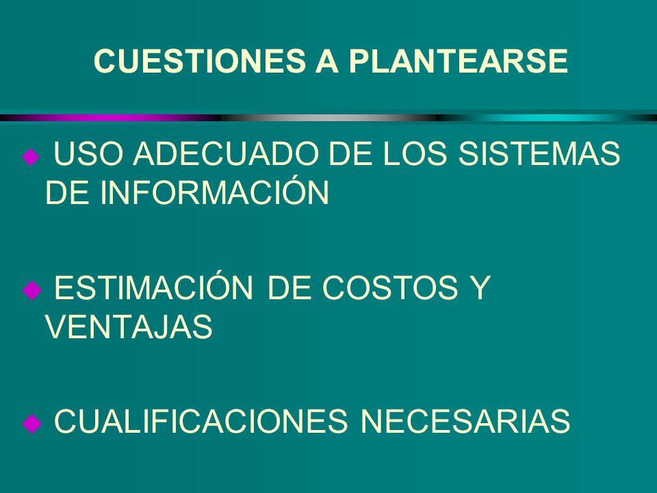 CUESTIONES A PLANTEARSE u USO ADECUADO DE LOS SISTEMAS DE INFORMACIÓN u ESTIMACIÓN DE COSTOS Y VENTAJAS u CUALIFICACIONES NECESARIAS