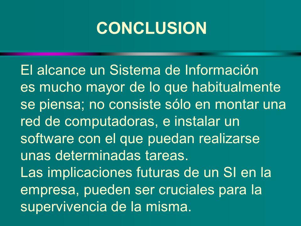 CONCLUSION El alcance un Sistema de Información es mucho mayor de lo que habitualmente se piensa; no consiste sólo en montar una red de computadoras,