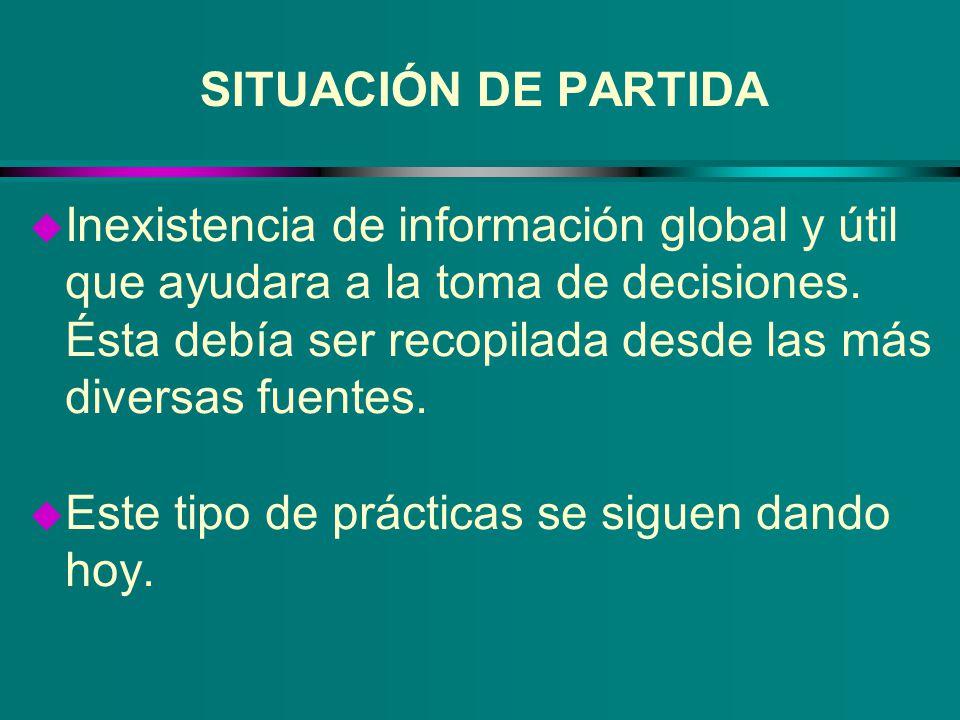 SITUACIÓN DE PARTIDA u Inexistencia de información global y útil que ayudara a la toma de decisiones. Ésta debía ser recopilada desde las más diversas