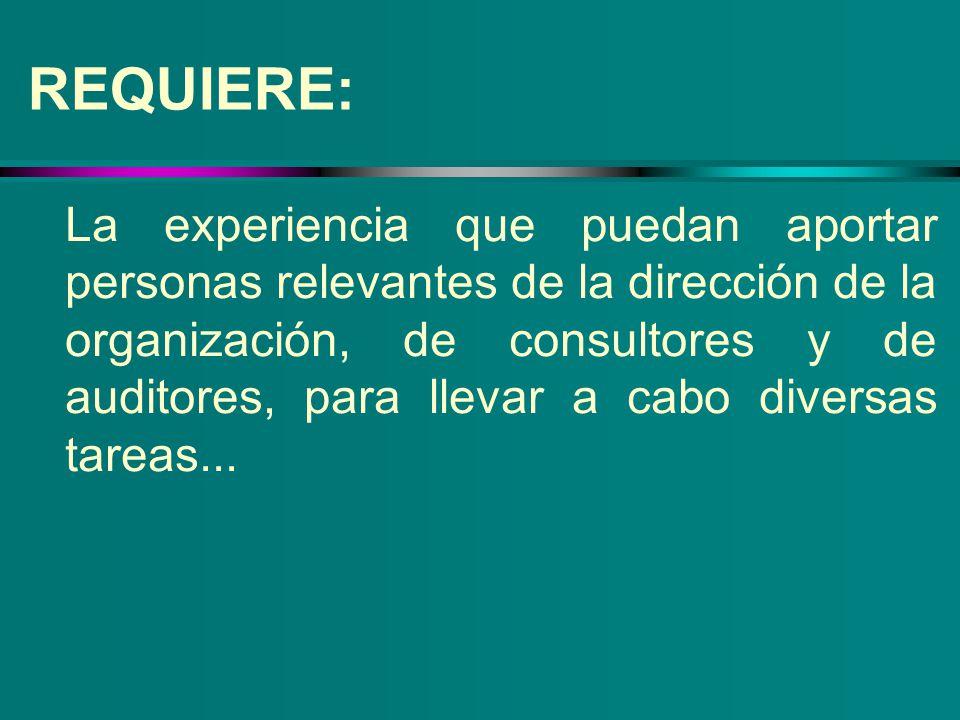 REQUIERE: La experiencia que puedan aportar personas relevantes de la dirección de la organización, de consultores y de auditores, para llevar a cabo