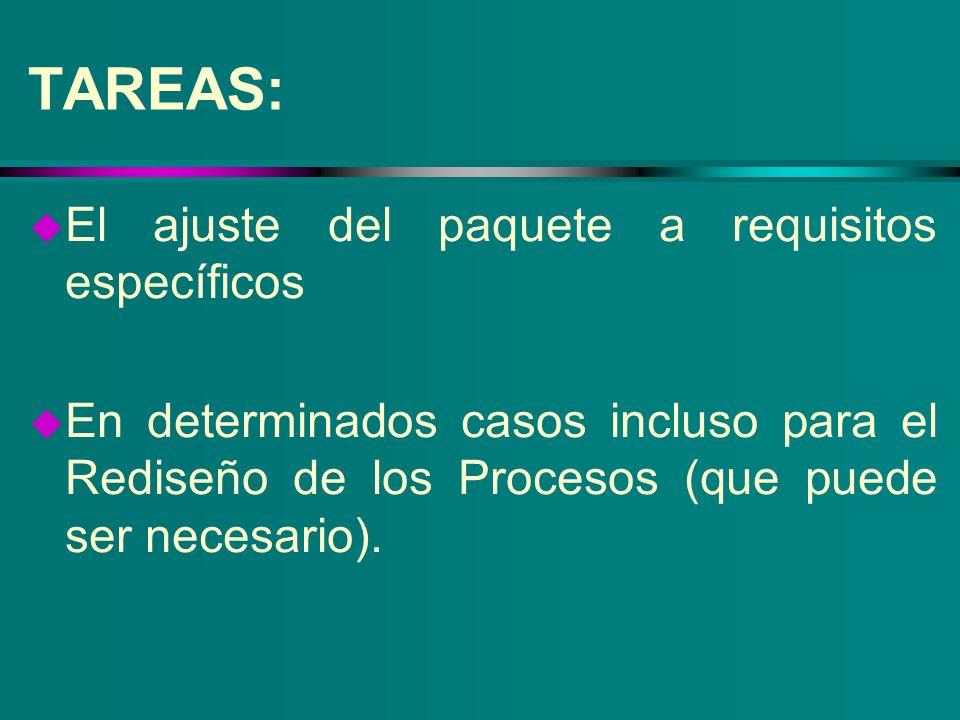 TAREAS: u El ajuste del paquete a requisitos específicos u En determinados casos incluso para el Rediseño de los Procesos (que puede ser necesario).