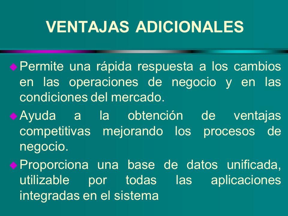 VENTAJAS ADICIONALES u Permite una rápida respuesta a los cambios en las operaciones de negocio y en las condiciones del mercado. u Ayuda a la obtenci