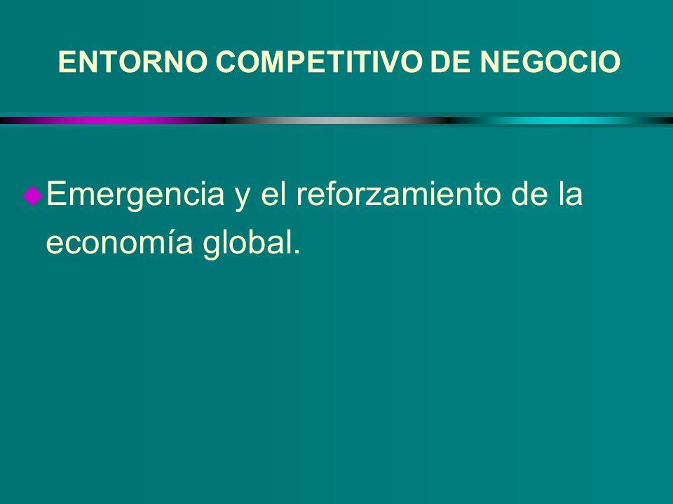 ENTORNO COMPETITIVO DE NEGOCIO u Transformación de economías y sociedades industriales en economías y sociedades basadas en la información, el conocimiento, y los servicios.