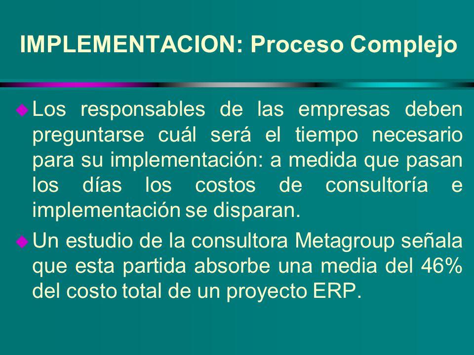 IMPLEMENTACION: Proceso Complejo u Los responsables de las empresas deben preguntarse cuál será el tiempo necesario para su implementación: a medida q
