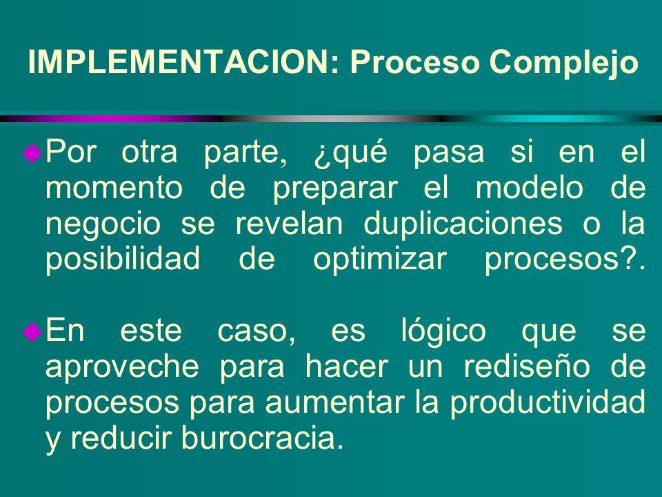 IMPLEMENTACION: Proceso Complejo Por otra parte, ¿qué pasa si en el momento de preparar el modelo de negocio se revelan duplicaciones o la posibilidad