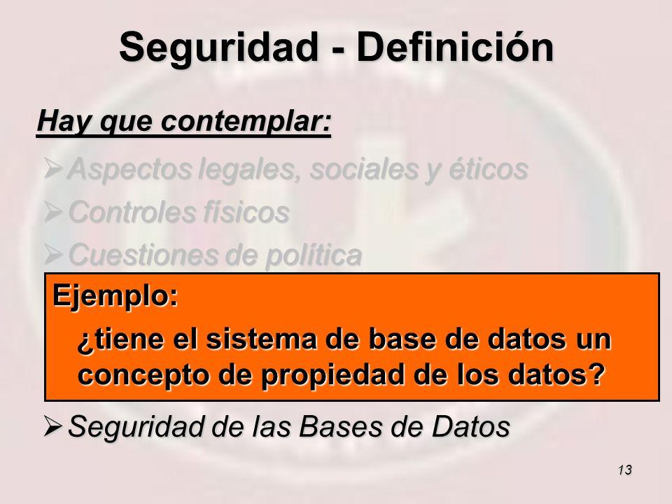 13 Hay que contemplar: Aspectos legales, sociales y éticos Aspectos legales, sociales y éticos Controles físicos Controles físicos Cuestiones de polít