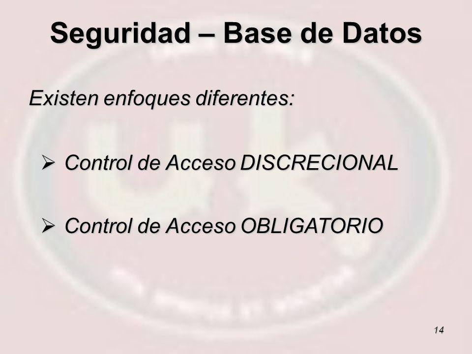 14 Existen enfoques diferentes: Control de Acceso DISCRECIONAL Control de Acceso DISCRECIONAL Control de Acceso OBLIGATORIO Control de Acceso OBLIGATO