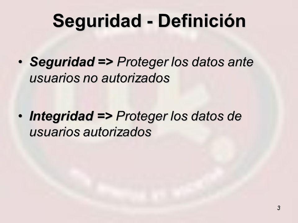 3 Seguridad => Proteger los datos ante usuarios no autorizadosSeguridad => Proteger los datos ante usuarios no autorizados Integridad => Proteger los