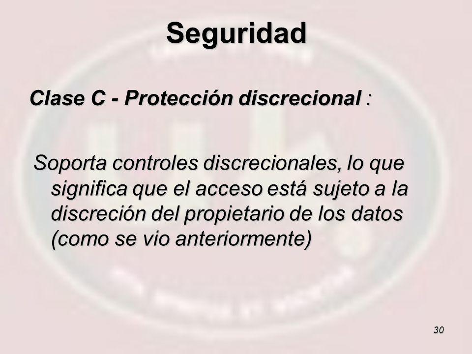 30 Clase C - Protección discrecional : Soporta controles discrecionales, lo que significa que el acceso está sujeto a la discreción del propietario de