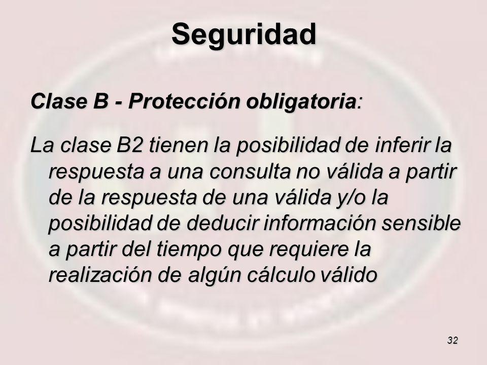 32 Clase B - Protección obligatoria: La clase B2 tienen la posibilidad de inferir la respuesta a una consulta no válida a partir de la respuesta de un