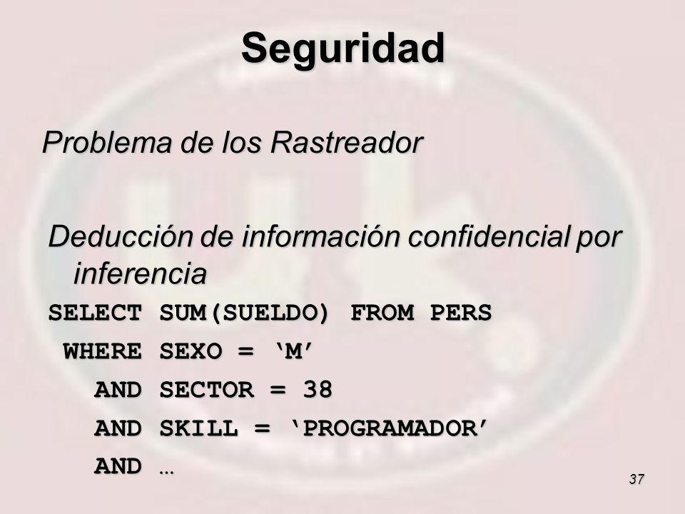 37 Problema de los Rastreador Deducción de información confidencial por inferencia SELECT SUM(SUELDO) FROM PERS WHERE SEXO = M WHERE SEXO = M AND SECT