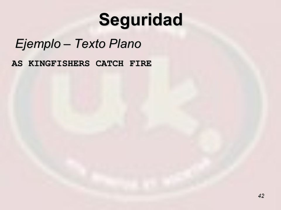 42 Ejemplo – Texto Plano AS KINGFISHERS CATCH FIRE AS KINGFISHERS CATCH FIRE Seguridad
