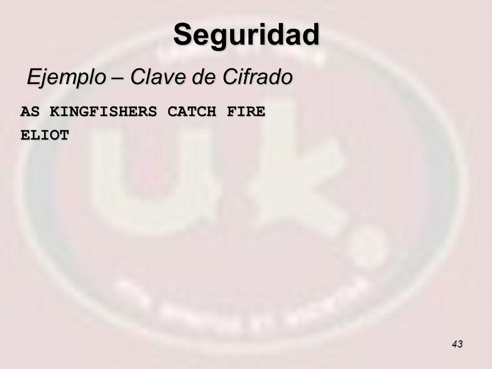 43 Ejemplo – Clave de Cifrado AS KINGFISHERS CATCH FIRE AS KINGFISHERS CATCH FIRE ELIOT ELIOT Seguridad