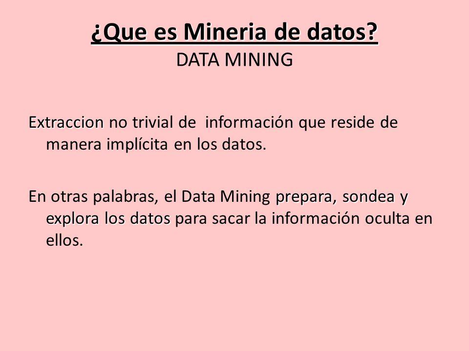 Data Mining: Objetivos OBJETIVOS: Descripcion: Descubrimiento de reglas.