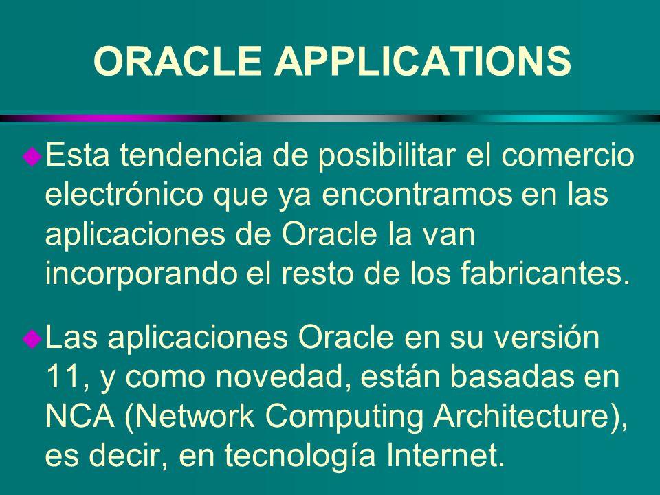 u Esta tendencia de posibilitar el comercio electrónico que ya encontramos en las aplicaciones de Oracle la van incorporando el resto de los fabricant