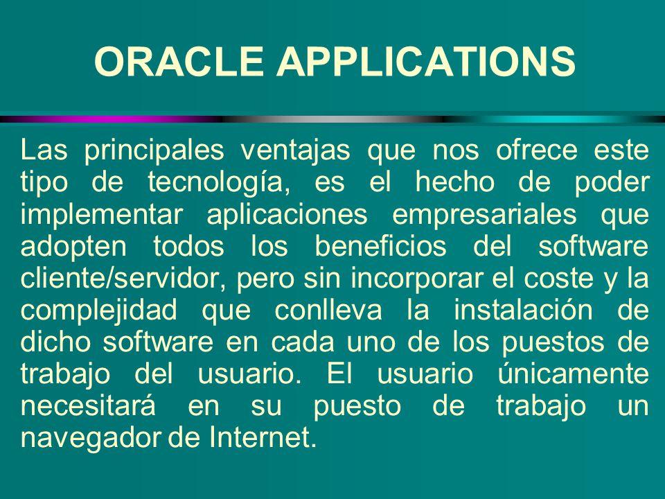ORACLE APPLICATIONS Las principales ventajas que nos ofrece este tipo de tecnología, es el hecho de poder implementar aplicaciones empresariales que a