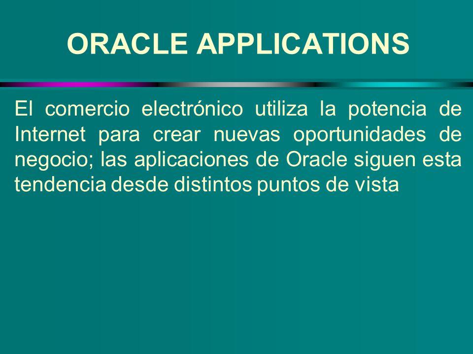 ORACLE APPLICATIONS El comercio electrónico utiliza la potencia de Internet para crear nuevas oportunidades de negocio; las aplicaciones de Oracle sig