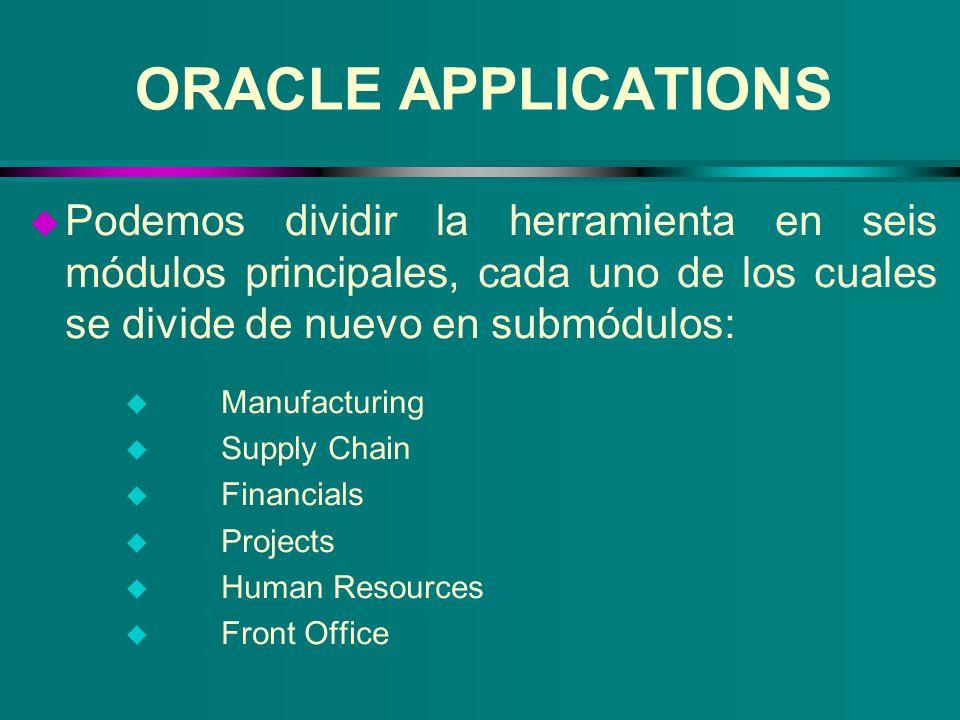 ORACLE APPLICATIONS u Podemos dividir la herramienta en seis módulos principales, cada uno de los cuales se divide de nuevo en submódulos: u Manufactu