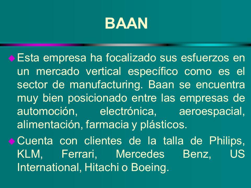 BAAN u Esta empresa ha focalizado sus esfuerzos en un mercado vertical específico como es el sector de manufacturing. Baan se encuentra muy bien posic