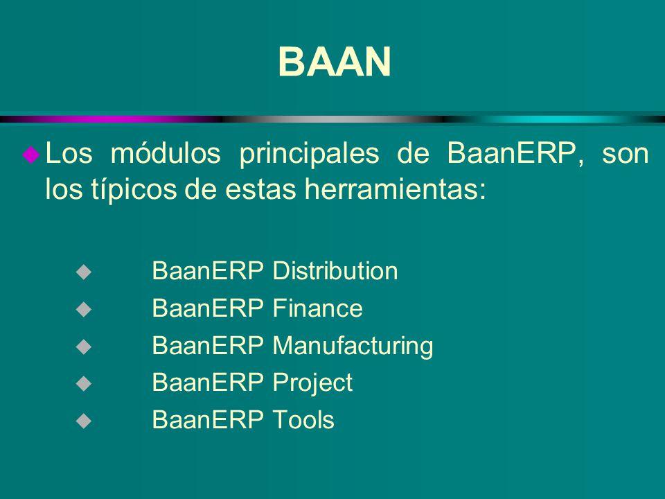 BAAN u Los módulos principales de BaanERP, son los típicos de estas herramientas: u BaanERP Distribution u BaanERP Finance u BaanERP Manufacturing u B